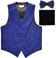 New formal men's Sequins royal blue Tuxedo vest waistcoat_bowtie & black hankie