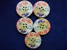 Botones 8 botones de madera floral chaqueta punto chaqueta bricolaje A mano 4 agujeros