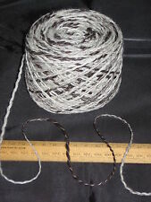 1000g Cream & Brown 100% pure undyed British Jacob knitting wool dk thick & thin