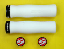 SRAM Locking Grips Contour Foam, White with Single Black Clamp and End plugs