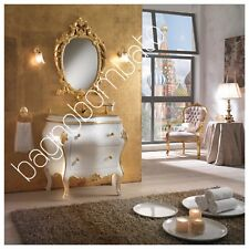 Mobile Bagno Stile Barocco Bombato Classico Veneziano Con Intagli Rifinitura Oro