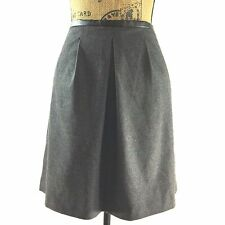 80ab614bc3 Lord Taylor size 6 Medium gray faux leather black trim pleat pocket skirt  work