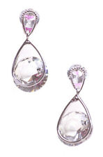 Grandeur & Glamorous Dual Chrome & Diamond Metal Stud Droplet Earrings(Ns20)