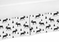 Black and White Sweet Jojo Woodland Moose Rustic Baby Crib Bed Skirt Dust Ruffle