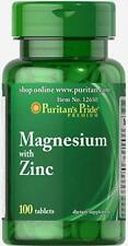 Puritan's Pride Magnesium with Zinc 100 tablets (free shipping)
