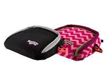 BubbleBum Backless Travel Booster Car Seat, Black & Pink Chevron Bundle