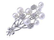 Flower Bouquet Fashion Pin Brooch Silvery Tone Faux Pearl Rhinestone Encrusted
