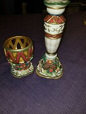 Fitz And Floyd Jolly Ole St Nick Candleholder and Votive