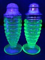 Hazel Atlas Ribbed Pedestal Uranium Green Glass Salt & Pepper Shakers