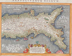 Ptolemy - Map of Southern Italy and Naples. 84, 1621 Hand-Colored Engraving