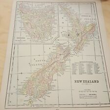 2 Sided Antique Map of New Zealand Victoria and Queensland w/key of Railways