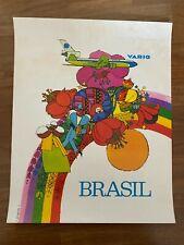 Manifesto poster AFFICHE,Brasile Brasil VARIG BRAZILIAN AIRLINES Aviazione 1973