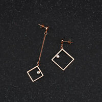 Hollow Square Asymmetric Tassels Pearl Rose Gold GP Surgical Steel Stud Earrings