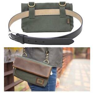 Origaudio Hobbs Double Crossbody Belt Bag Green Water Resistant Cotton Canvas