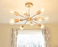 SPUTNIK STARBURST LIGHT FIXTURE CHANDELIER LAMP MATT BRASS DIY MID CENTURY12 ARM