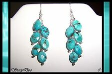 ** GENUINE FACETED TURQUOISE STERLING SILVER EARRINGS (792)