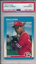Barry Larkin Red HOF 2012 Rookie Signed Auto 1987 Fleer Card #204 ~ PSA/DNA Slab