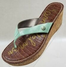 7f268dbc8b68 Sam Edelman Sandals Romy Cork Wedge Green Patent Leather Womens Shoes 8.5M