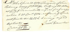 Revolutionary War Chaplain Israel Evans Signed Receipt Payment For Forage 1783