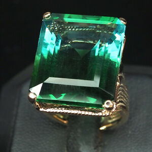AMETRINE BLUE GREEN OCTAGON 30.10 CT. 925 STERLING SILVER ROSE GOLD RING SIZE 6