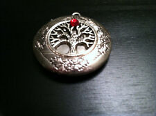 Circle Tree of Life JULY BIRTHSTONE Silver Plated Photo Locket on sterling chain