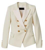 BALMAIN x H&M DOUBLE BREASTED WHITE IVORY WOOL JACKET BLAZER SZ EU36 UK10 US6