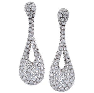 12.75CT White Cubic Zirconia In Real 925 Sterling Silver Wedding Dangle Earrings