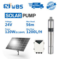 "3"" Screw Bore Pump Submersible Solar Water Well DC 24V 120W MPPT Controller Yard"