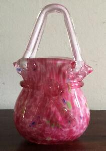 Fantastic Pink Art Glass Handbag Vase