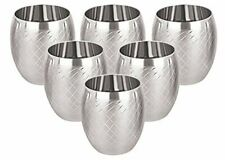 Designer 3D Steel Water Glasses 260 ml 6 Piece Silver Look Finish