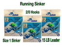 6 Running Sinker Whiting Fishing Rigs - 2/0 Octopus Hook Size 1 Sinker 15lb Rig