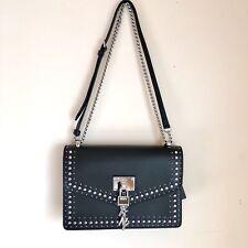 "DKNY Elissa Studded Black Leather Shoulder Bag Size (10.5"" W x 7.25"" H x 2.5""D)"