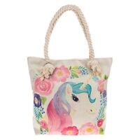 Equilibrium Floral Unicorn Tote Bag Cream/Beige Shopping Bag Canvas Ladies/Girls