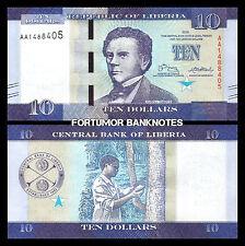Liberia 10 Dollars 2016, Unc, 5 Pcs Lot, Consecutive, P-32 New Design, Prefix Aa