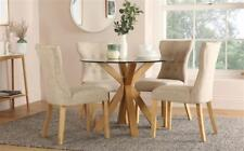 Hatton Round Oak and Glass Dining Table with 4 Bewley Oatmeal Chairs