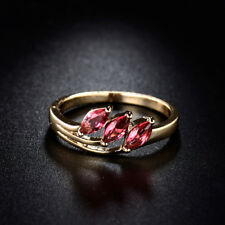 Cute Fashion Distinctive Red Ruby Crystal Three-stone Gold Filled Eternity Ring