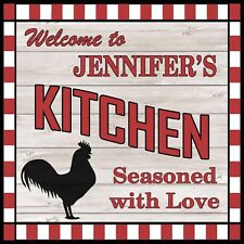 JENNIFER'S Kitchen Welcome to Rooster Chic Wall Art Decor 12x12 Metal Sign SS92