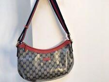 GUCCI Crystal Monogramma Medium WEB Messenger Handbag Blu Marino/Rosso