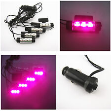 4 x 3LED Purple Pink Auto Interior Charge Floor Decorative Light Atmosphere Lamp
