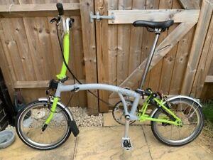 Brompton folding bike M3L, Grey and Lime Green, original box, just serviced