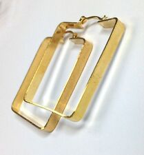New! Unique Square 18K Yellow Gold Layered Hoop Earrings 1.5x1.3""