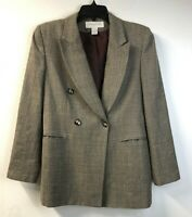 Vtg Jones New York Blazer Double Breasted Brown Plaid Wool Jacket Sz 6 Petite