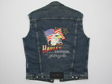 Vtg 1985 Harley Davidson Born in the USA Sleeveless Denim Jacket Vest Small >BIG