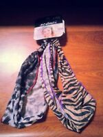 Scunci Set of 2 Headbands Headband Head Band Fabric Animal Print Zebra Cheetah