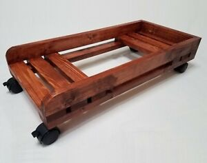 Computer Stand For Desktop PC Case CPU Tower With Front Locking Wheels (Wooden)
