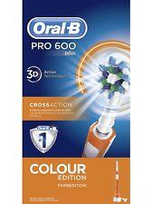 Braun Oral-B Pro 600 Elektrische Zahnbürste 3D-White CrossAction Weiß Orange