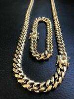 Mens Cuban Miami Link Bracelet & Chain Set 10mm Stainless Steel 18K Gold Plated