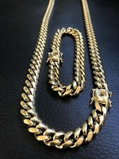 Set 10mm Stainless Steel 18K Gold Plated Mens Cuban Miami Link Bracelet & Chain