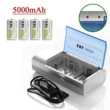 4x C size Ni-Mh 5000mAh Rechargeable Battery + 9V/Aa/Aaa/Sc/C/D Battery Charger