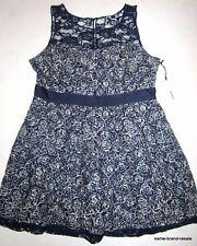 BB DAKOTA NWT Dress Womens PLUS 18 2X Navy Blue Lace Neckline Flare Knee Length